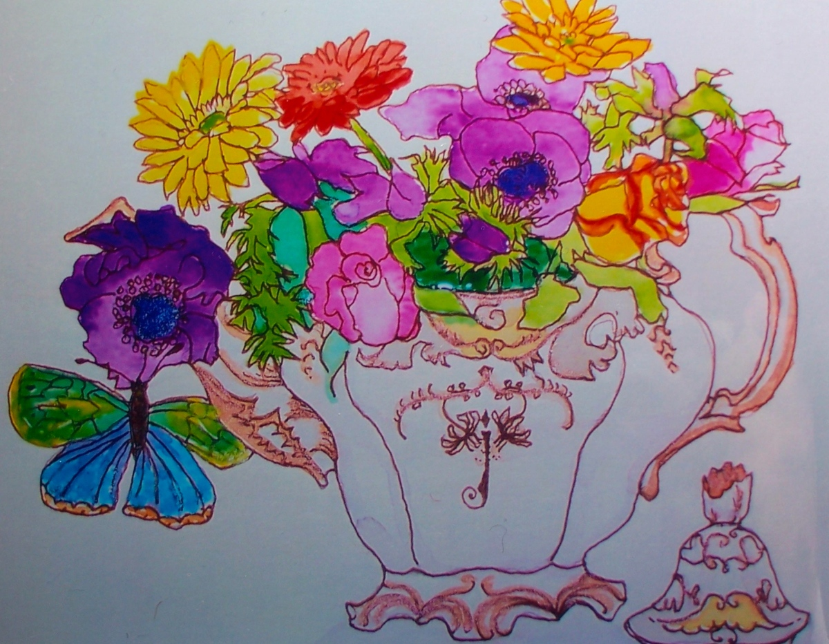 Teapot and flowers.