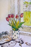 Tulips in spotted jug.